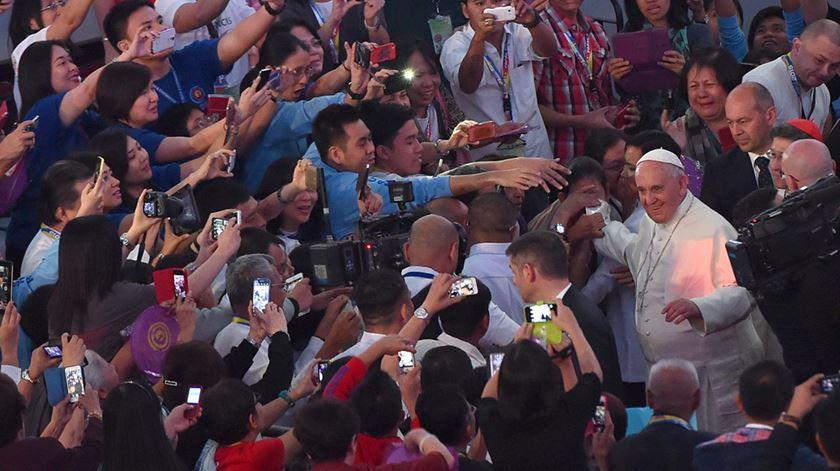 O Papa Francisco no encontro com as famílias em Manila, nas Filipinas. Foto: Ettore Ferrari/EPA