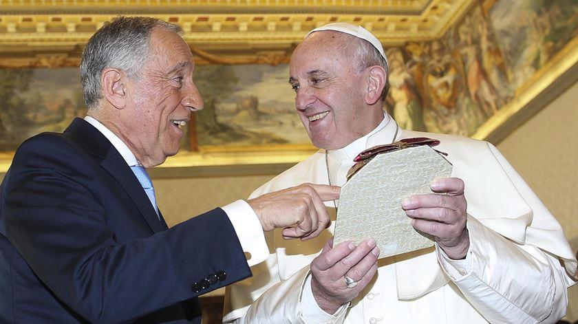 O Papa Francisco e Marcelo Rebelo de Sousa encontraram-se uma vez, pouco depois de o Presidente ter tomado posse. Foto: Alessandro Bianchi