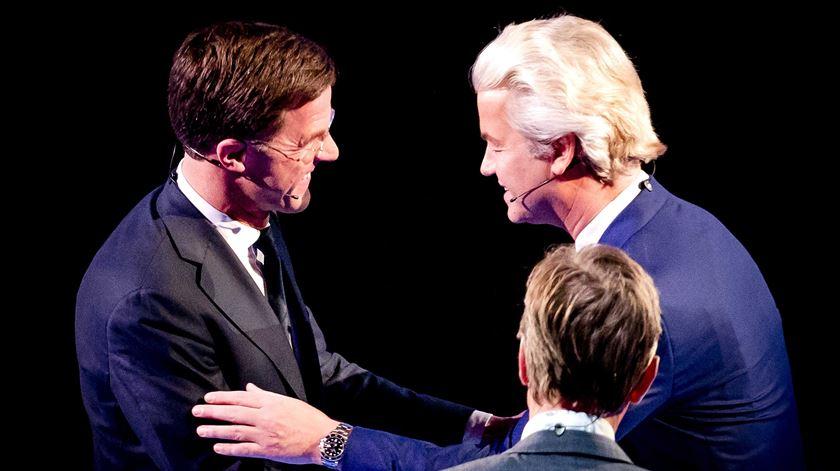 Wilders após um debate com o primeiro-ministro, Mark Rutte. Foto: Remko de Waal/EPA