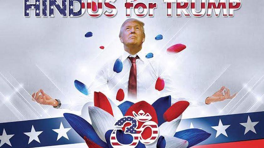 Cartaz de apoio a Donald Trump, da autoria dos Hindus for Trump. Foto: Hindus for Trump