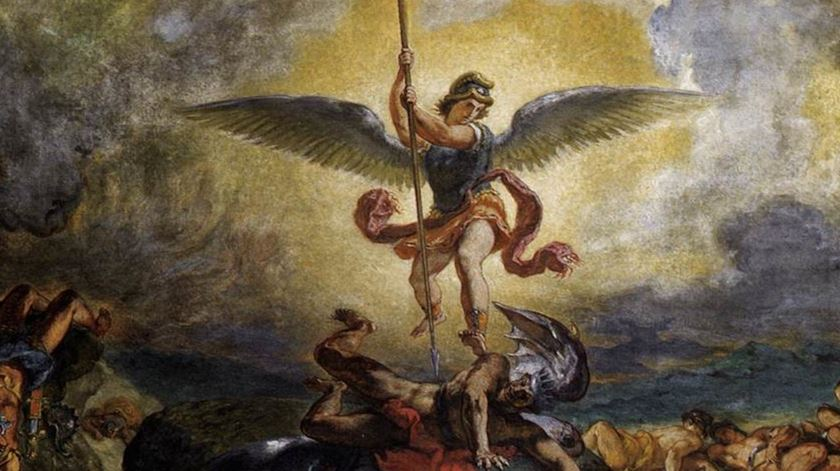 São Miguel expulsa Satanás do Paraíso. Foto: DR