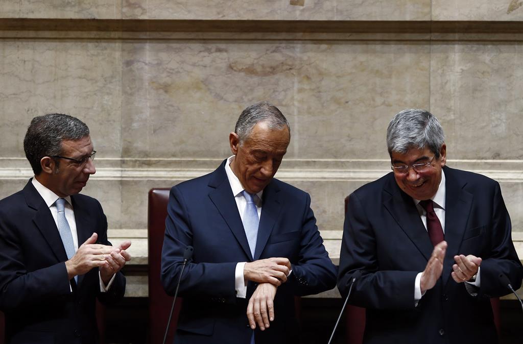 A hora de Marcelo. Discurso do Presidente da República no Parlamento, na tomada de posse em 2016. Foto: Joana Bourgard/RR