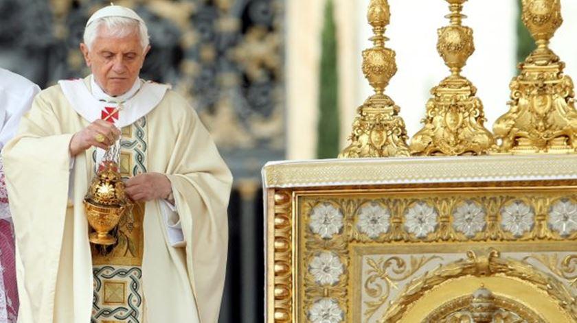 O Papa Bento XVI na missa da beatificacao João Paulo II, em 2011
