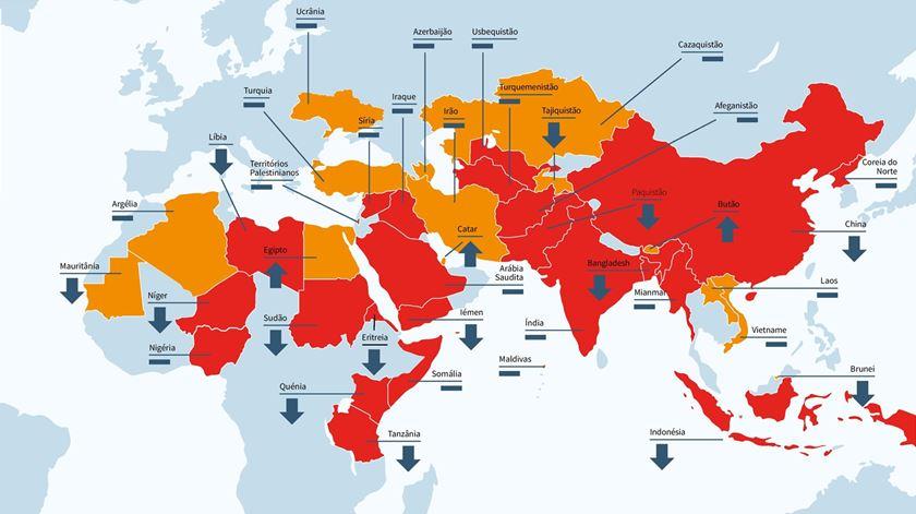 Mapa da Ajuda à Igreja que Sofre mostra os pontos de maior preocupação com liberdade religiosa no mundo em 2016. Foto: AIS