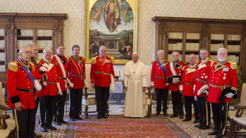 Cavaleiros da Ordem Soberana e Militar de Malta com o Papa Francisco. Foto: DR