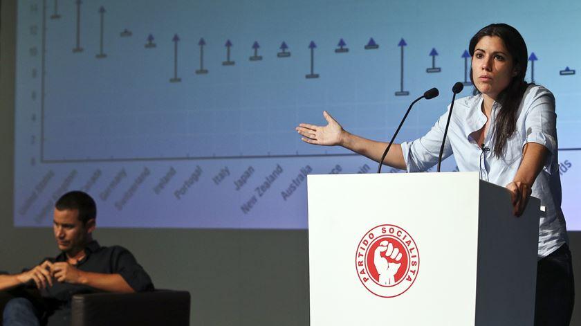 Mariana Mortágua, Bloco de Esquerda, em conferência do PS. Foto: Paulo Novais/Lusa