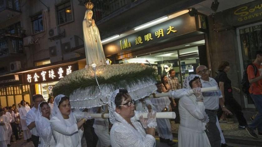 Procissão de Nossa Senhora de Fátima em Macau, uma herança portuguesa. Foto: DR