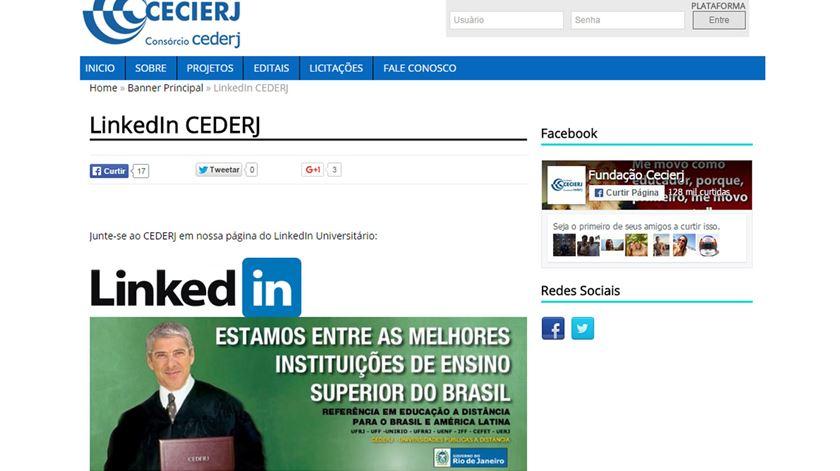 Imagem de Sócrates também foi usada no site do CEDERJ