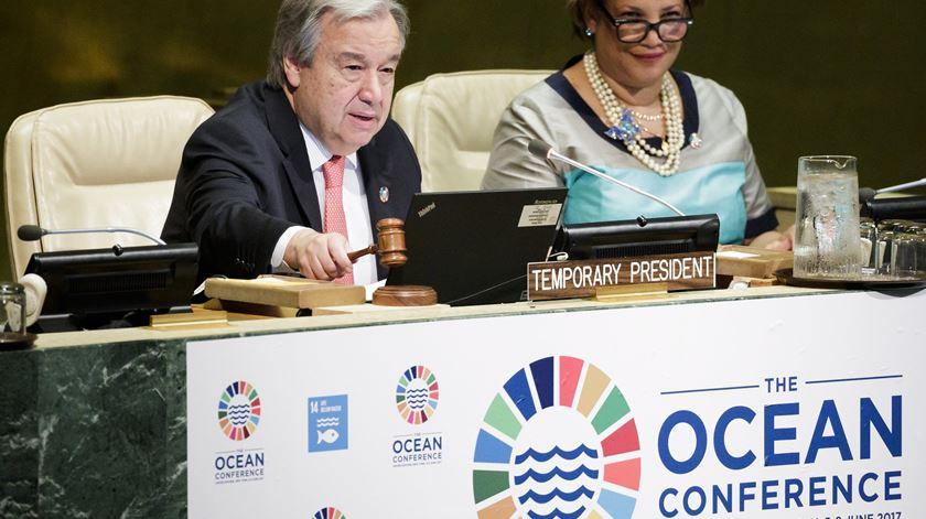O secretário-geral da ONU, António Guterres, na abertura da conferência. Foto: Justin Lane/EPA