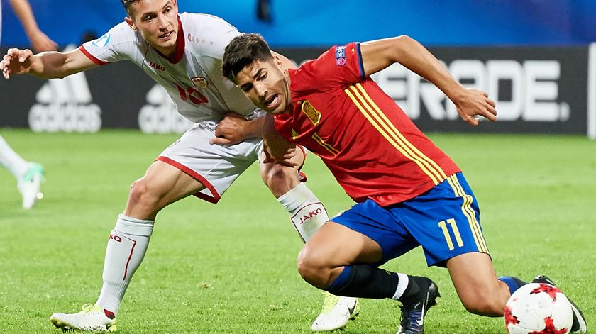 Asensio foi a estrela de serviço na goleada (5-0) espanhola à Macedónia. Foto: EPA