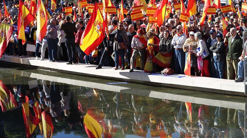 Manifestação em Madrid contra independência da Catalunha. Foto: JJ Guillen/EPA