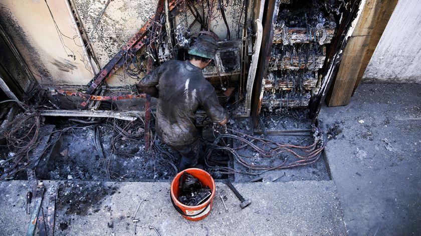 Os trabalhadores dividem-se entre o trabalho da recuperação da fábrica e o corte de árvores