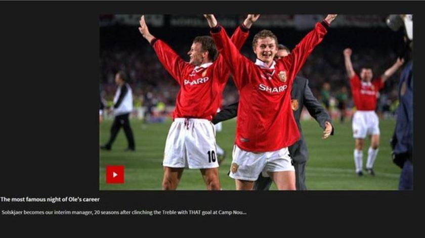 Captura do vídeo divulgado pelo Manchester United