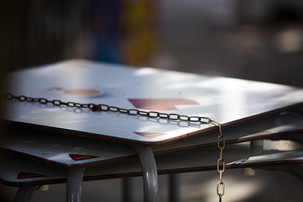 Mesas de esplanada guardadas no exterior do Solar do Parque. Foto: Sofia Freitas Moreira/RR