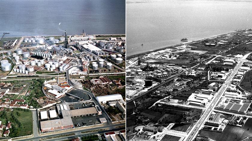 Zona industrial de Cabo Ruivo. À esquerda, antes da demolição para as Expo98, à direita, em 1953. Foto: Arquivo Fotográfico de Lisboa