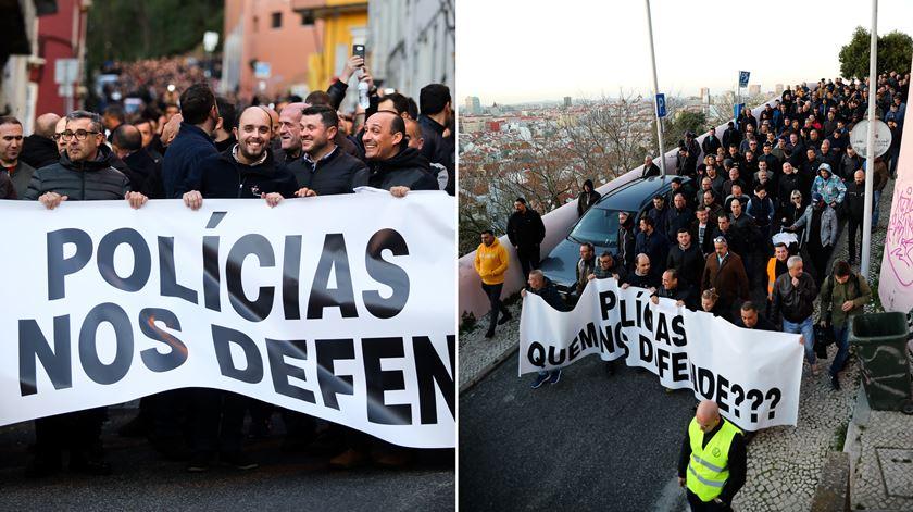 No protesto participaram pouco mais de um milhar de polícias, com a promessa de voltarem às ruas caso o Governo continue por resolver as principais reivindicações.