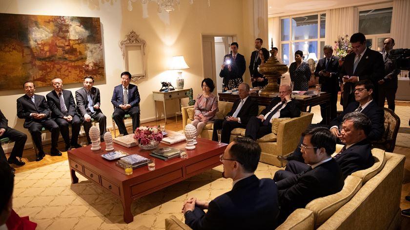 Marcelo Rebelo de Sousa durante um almoço com empresários chineses. Foto: Presidência da República