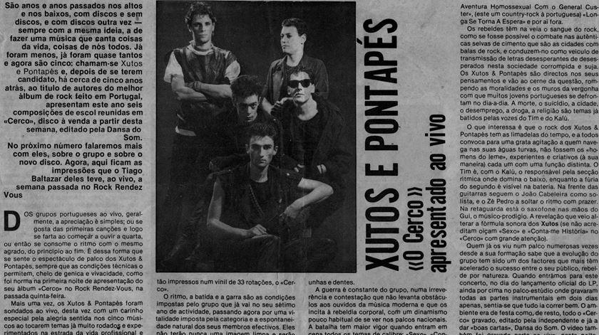 """Uma página do Blitz, em 1986, aquando do lançamento do álbum """"Cerco"""""""