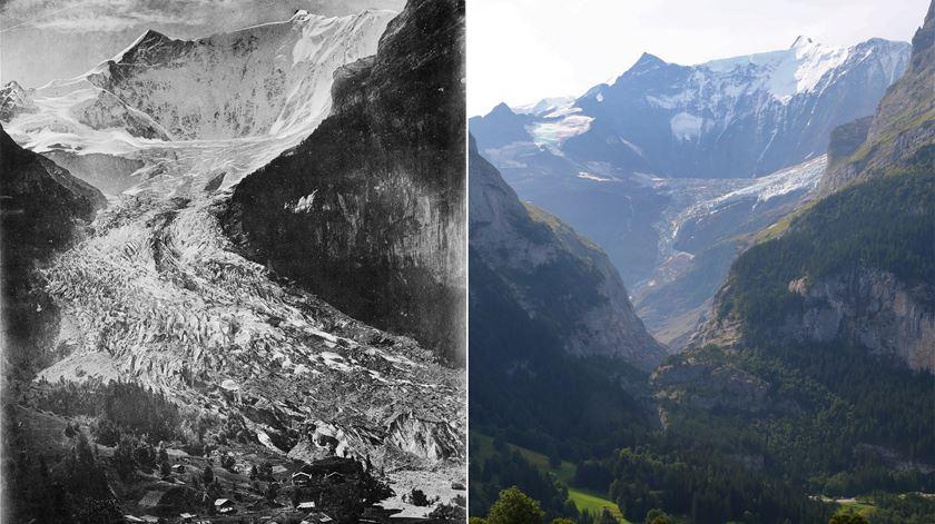 """O antes e o depois dos Alpes suíços. Glaciares estão a desaparecer em tempo """"recorde"""""""