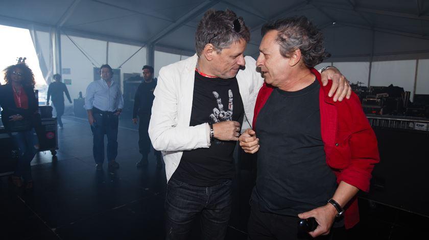 Zé Pedro com Jorge Palma nos bastidores do Rock in Rio Lisboa 2014. Foto: RR