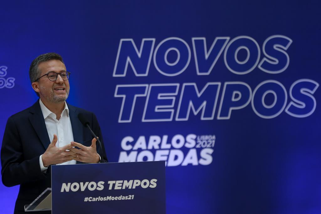 """Carlos Moedas faz de """"Novos Tempos"""" o mote da sua candidatura. Foto: Manuel De Almeida/Lusa"""