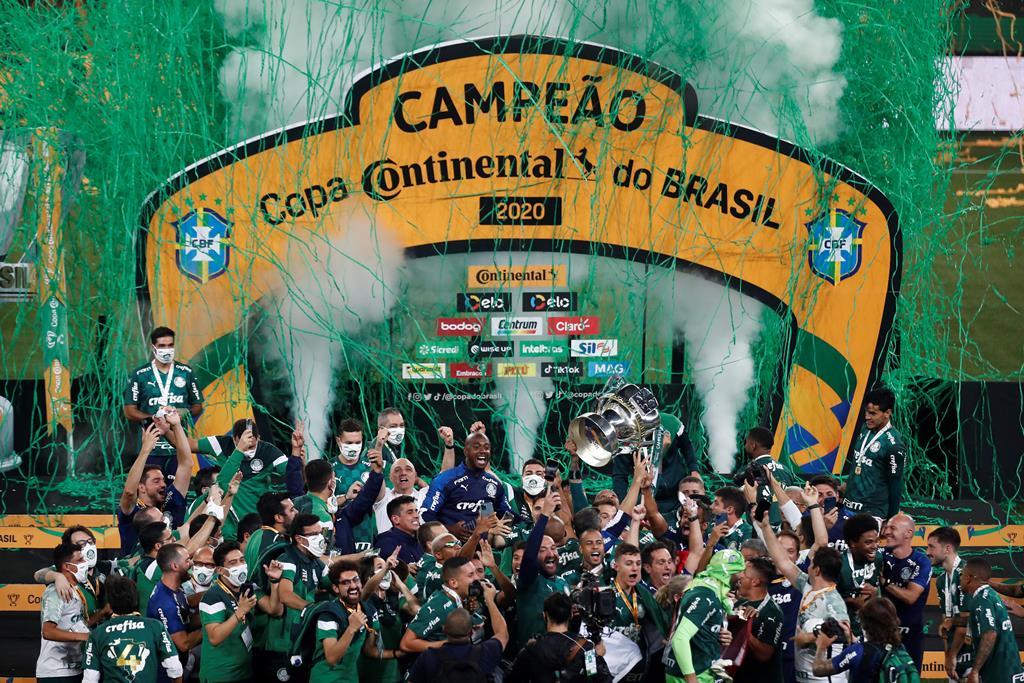 Palmeiras, treinado por Abel Ferreira, conquista Copa do Brasil. Derrotou o Grémio. Foto: Sebastiao Moreira/EPA