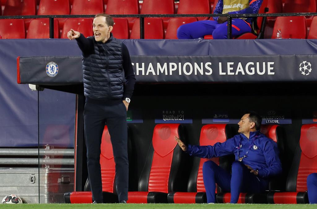 Thomas Tuchel, do Chelsea, diante do FC Porto na Liga dos Campeões. Foto: José Manuel Vidal/EPA