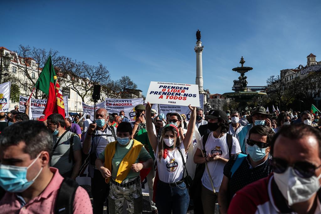 Manifestação contra a ilegalização do Chega. Foto: Mário Cruz/Lusa