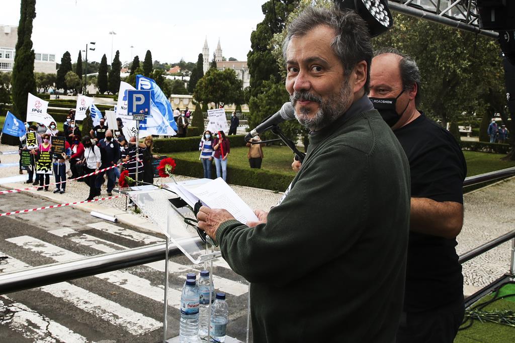 Mário Nogueira numa ação nacional de luta de professores. Foto: Manuel De Almeida/Lusa