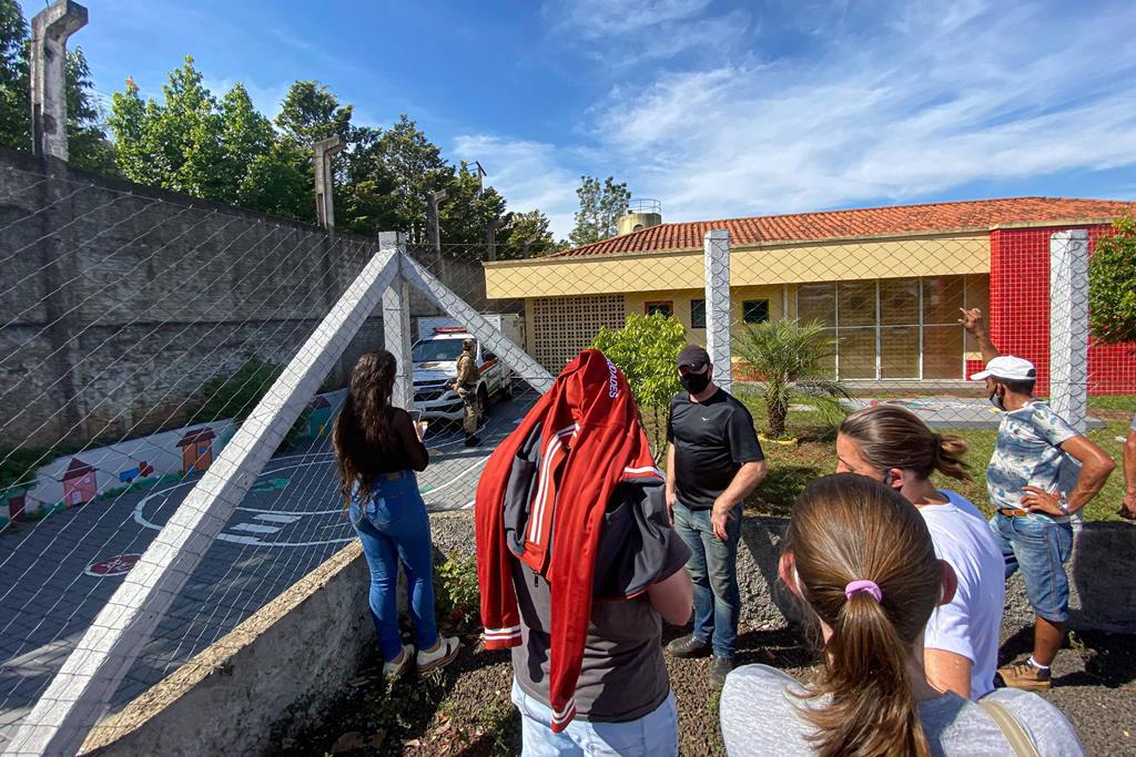 Infantário atacado por jovem de 18 anos, no Brasil. Foto: William Ricardo/Ishoot/EPA