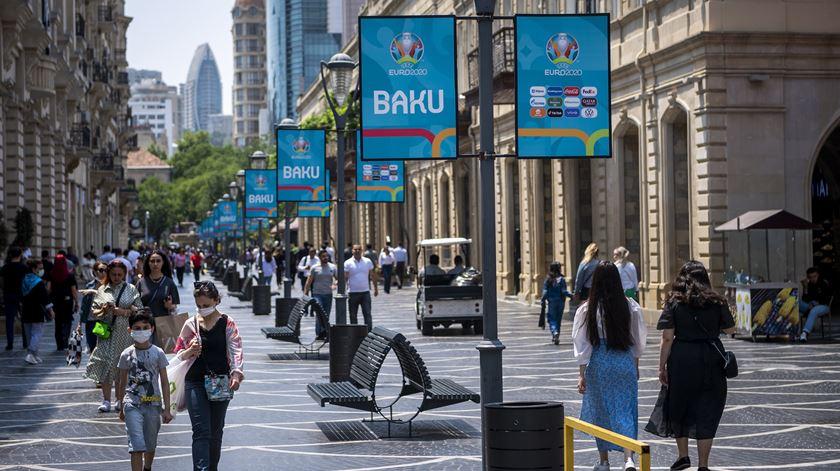 Tudo a postos em Baku, capital do Azerbaijão. Foto: Jean-christophe Bott/EPA