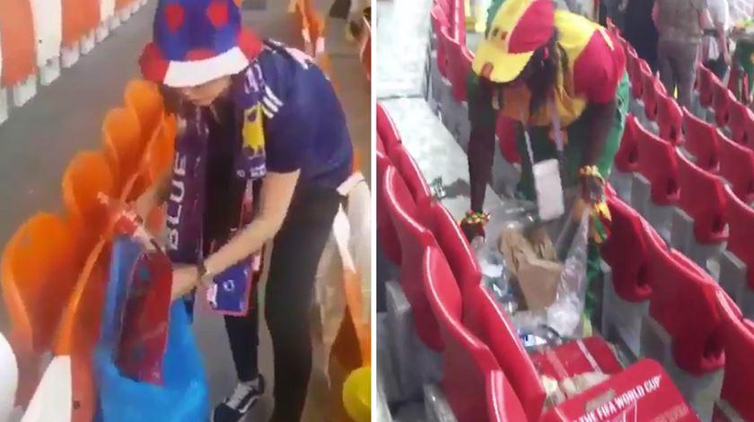 Mundial 2018. Adeptos do Japão e do Senegal limpam as bancadas do estádio