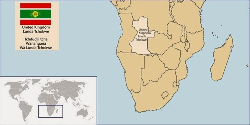 Mapa do protetorado Lunda Tchokwe, em Angola, que reivindica autonomia. Foto: DR