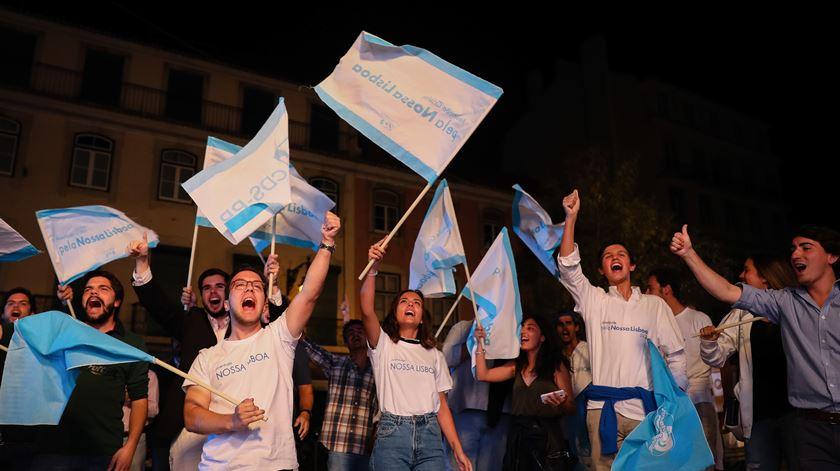 Apoiantes do CDS reagem aos resultados eleitorais em Lisboa. Assunção Cristas ficou em segundo lugar na Câmara de Lisboa. Foto: André Kosters/Lusa