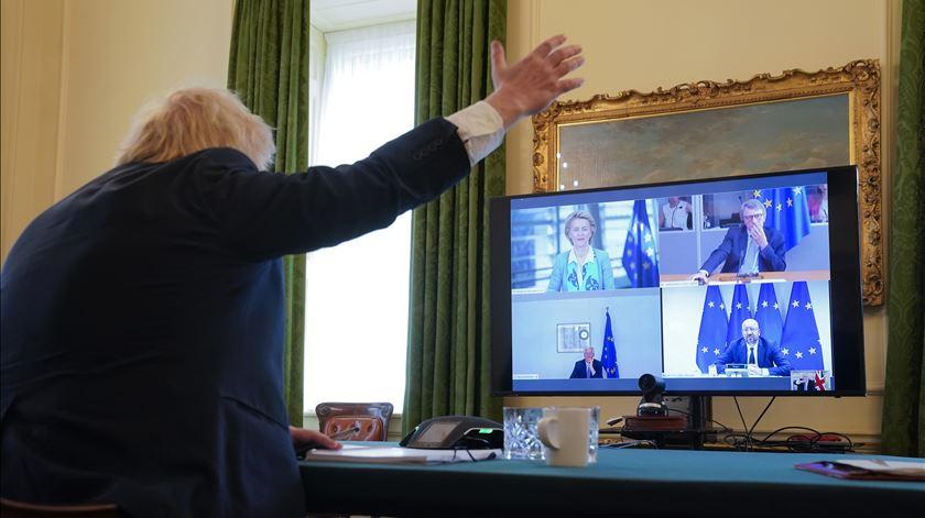 Boris reúne com dirigentes europeus por videoconferência. Foto: Andrew Parsons/EPA