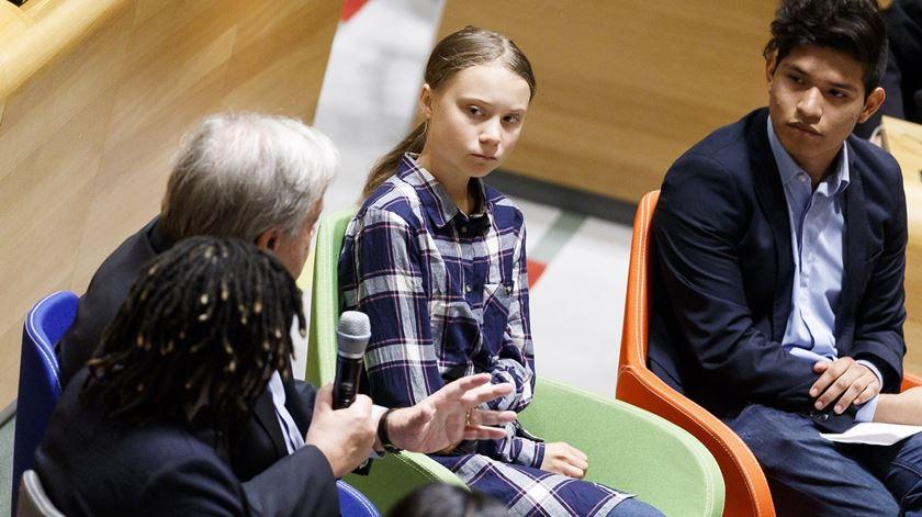 António Guterres com Greta Thunberg, na ONU. Foto: Justin Lane/EPA
