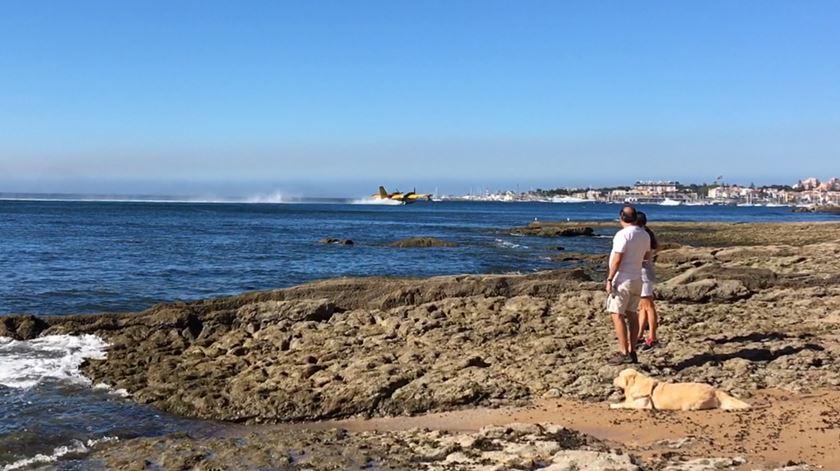 Aviões abastecem na Praia do Tamariz para combater incêndio em Cascais/Sintra