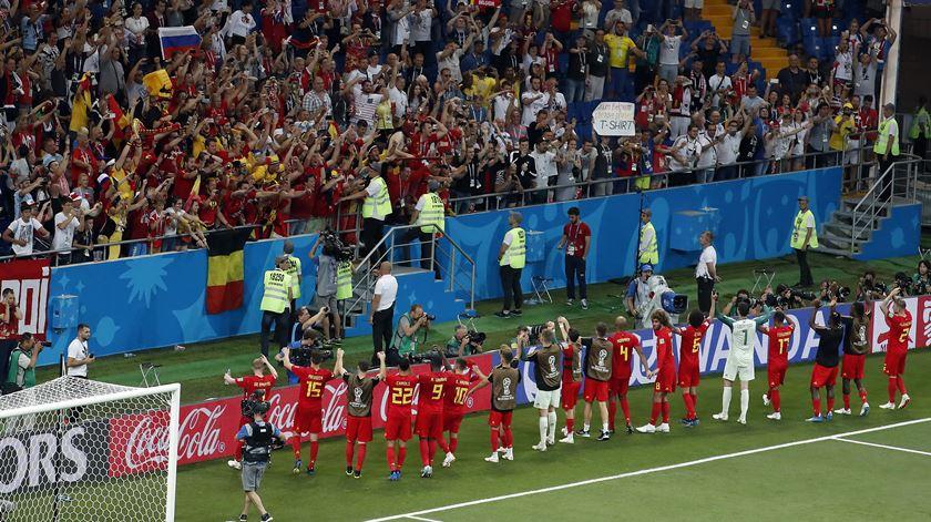Razões de sobra para a Bélgica celebrar um apuramento épico. Foto: EPA
