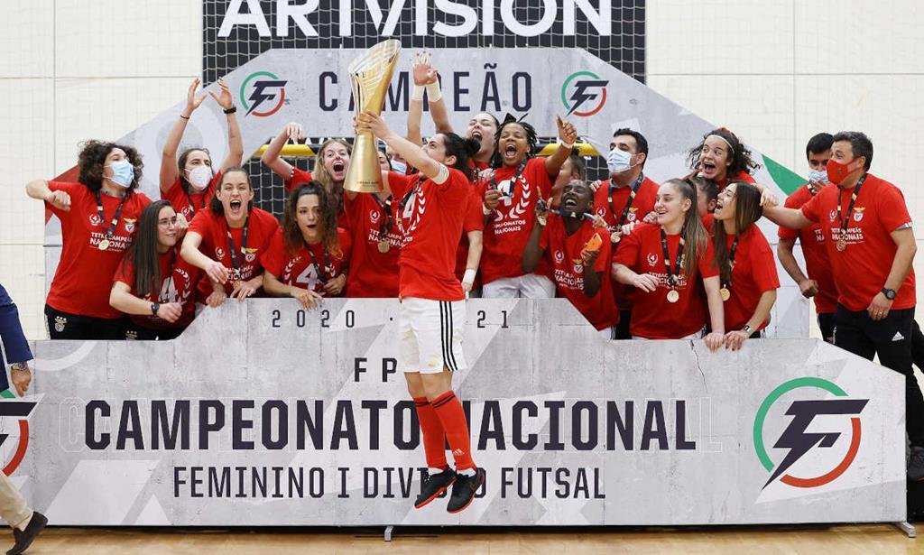 Benfica tetracampeã de futsal feminino. Foto: SLB