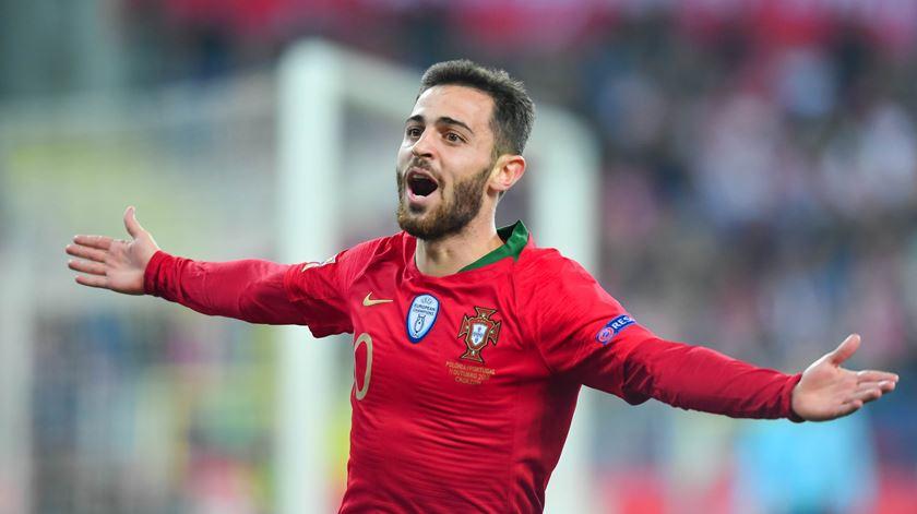 Assim celebrou Bernardo o golo marcado. Foto: Twitter da UEFA