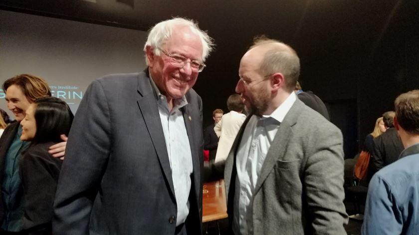 Bernie Sanders com Rui Tavares, fundador do Livre. Foto: José Alberto Lemos