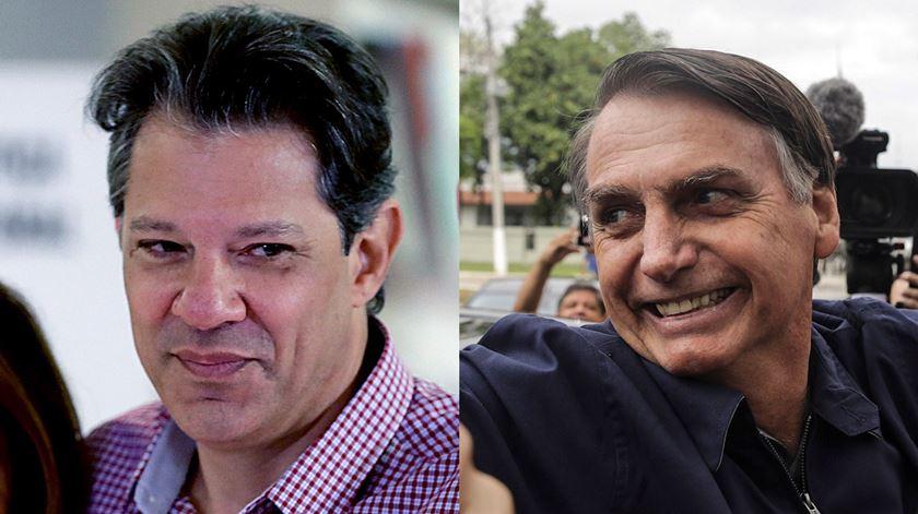 Fernando Haddad e Jair Bolsonaro. Fotos: EPA