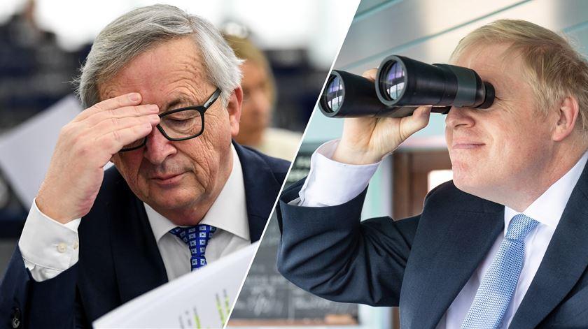 Jean-Claude Juncker e Boris Johnson. Montagem: RR