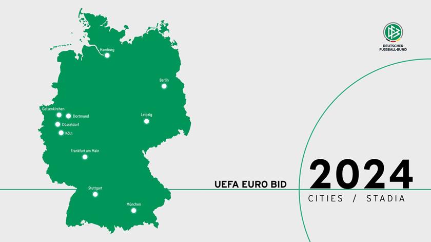 As 10 cidades escolhidas pela Federação alemã. Foto: DFB