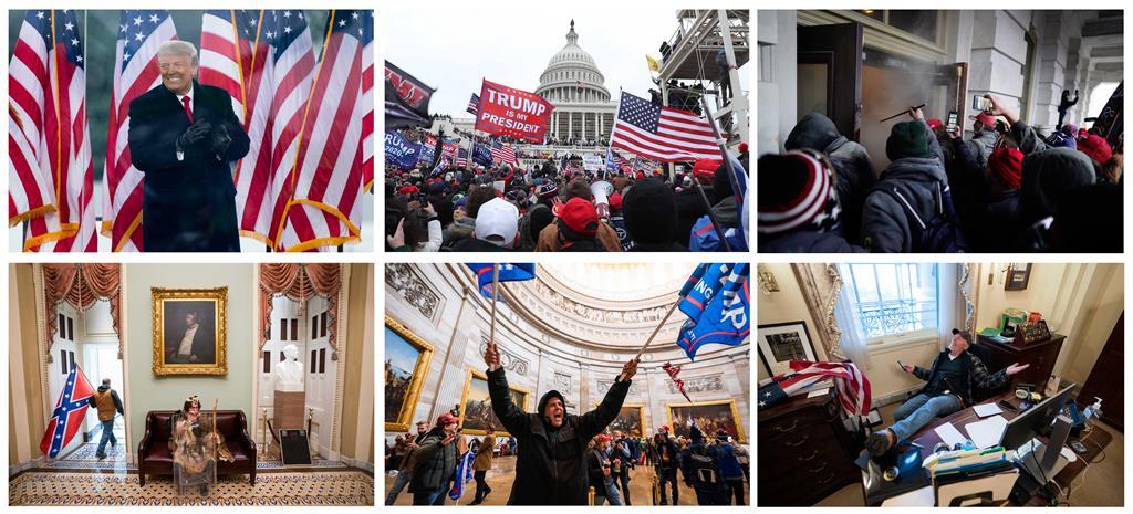 Em causa está o alegado envolvimento de Trump na invasão do Capitólio. Fotos: EPA