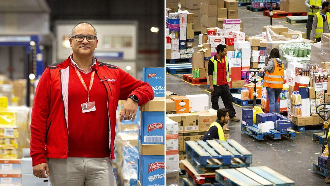 Nuno Matos, gestor de operações de logística da Auchan, e armazem com produtos que seguem diretamente para as pequenas e grandes superfícies.