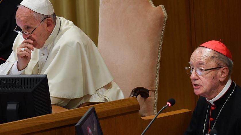 Cláudio Hummes com o Papa Francisco no Sínodo da Amazónia. Foto: DR