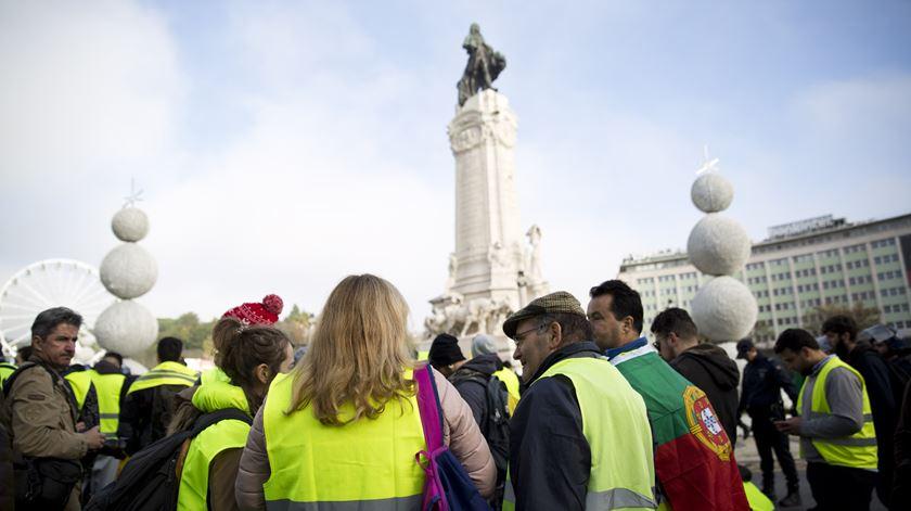 Membros do movimento dos coletes amarelos em Lisboa. Foto: inês Rocha/RR