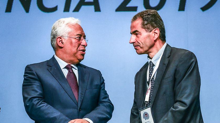 António Costa e Manuel Heitor num evento de ciência em 2019. Foto: Octávio Passos/Lusa (arquivo)