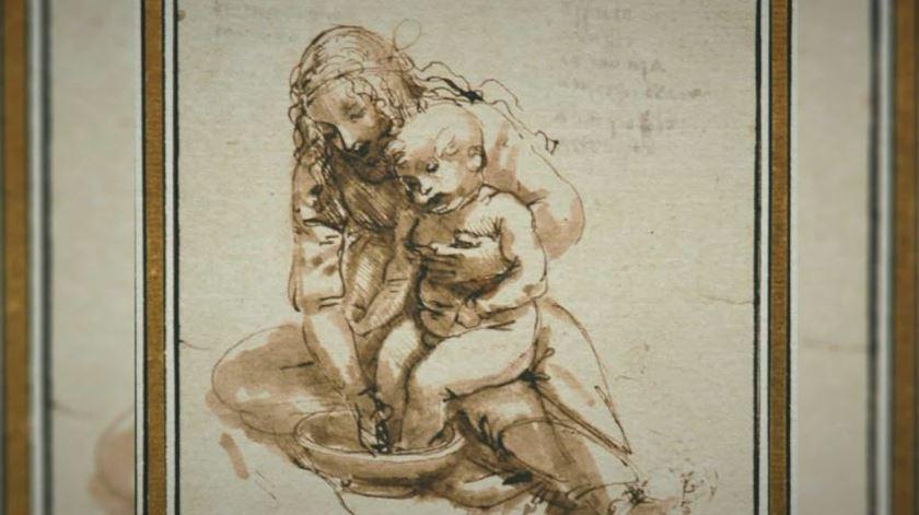 """""""Rapariga lavando os pés a uma criança"""", de Leonardo Da Vinci. Foto: DR"""